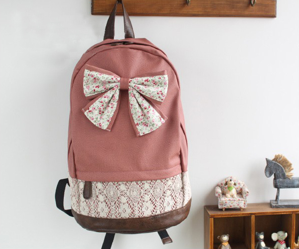 Women Canvas Lace Backpack Bag School bag Tote Bow Handbag Campus ...