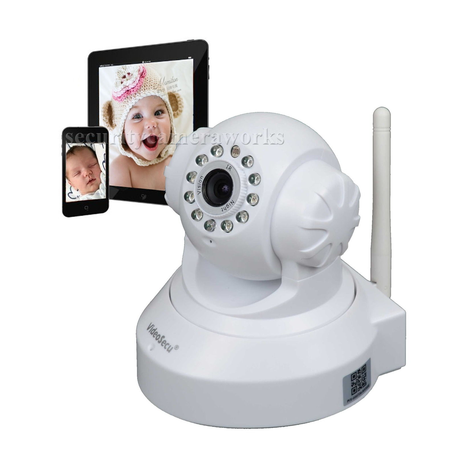 baby monitor security camera wireless wifi ip smartphone ir day night vision bis ebay. Black Bedroom Furniture Sets. Home Design Ideas