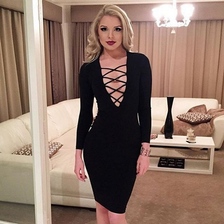 SLIM Women Bandage Bodycon Long Sleeve Evening Sexy Party Cocktail ...