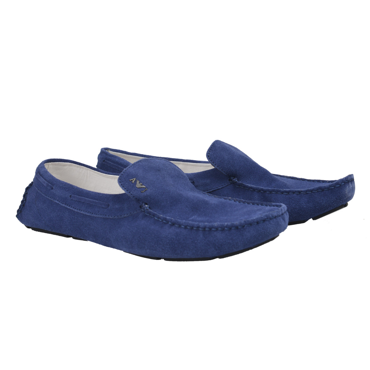 Armani Jeans Mens Blue Suede Loafers Moccasins Driving Shoes