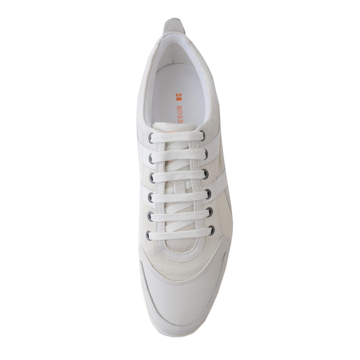 hugo boss orange orodos v white leather fashion sneakers. Black Bedroom Furniture Sets. Home Design Ideas