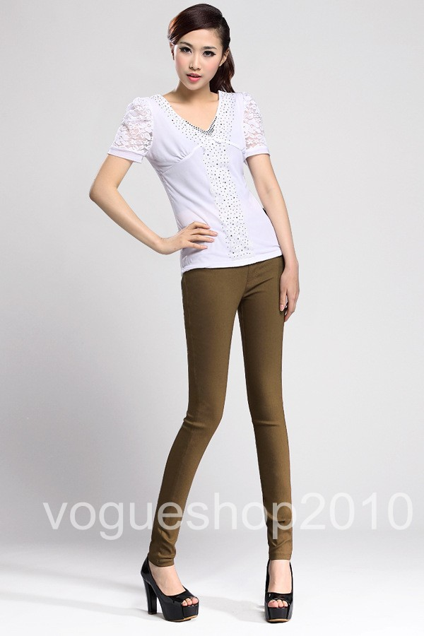 Hot-Womens-High-Waist-Stretchy-Skinny-Leggings-Pencil-Pants-Trousers-Free-Ship