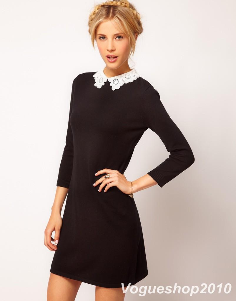 Черное платье с кружевным воротником