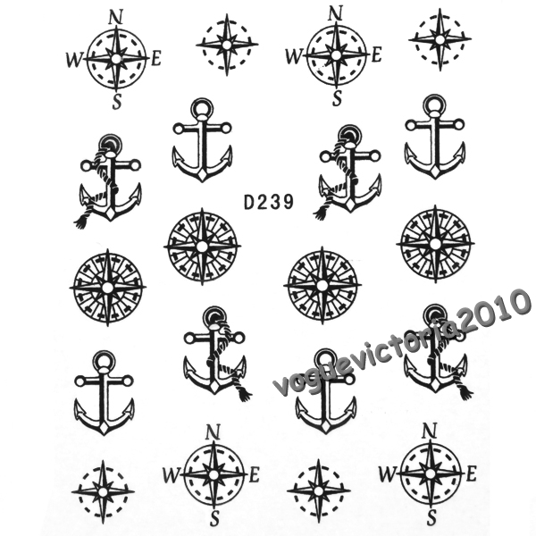 nagelsticker nail art tattoo aufkleber compass anchor pattern ebay. Black Bedroom Furniture Sets. Home Design Ideas