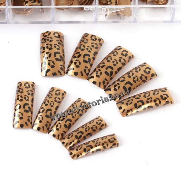 70 french nagel tips k nstliche fingern gel braune leopard streifen design ebay. Black Bedroom Furniture Sets. Home Design Ideas