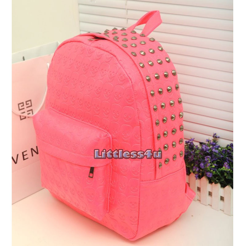 Skull Backpack Neon Stud Rucksack Faux Leather School Bag Satchel ...