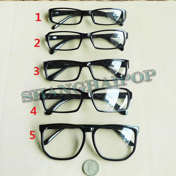 Thin Framed Fashion Glasses : Black Clear Lens Slim/Large Frame Glasses Vintage Retro ...