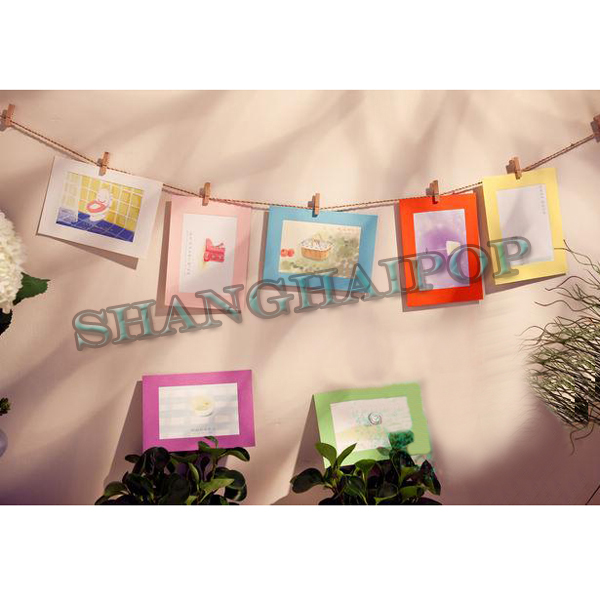 Photo paper frame wall wood clothespin decor string for Clothespin photo hanger