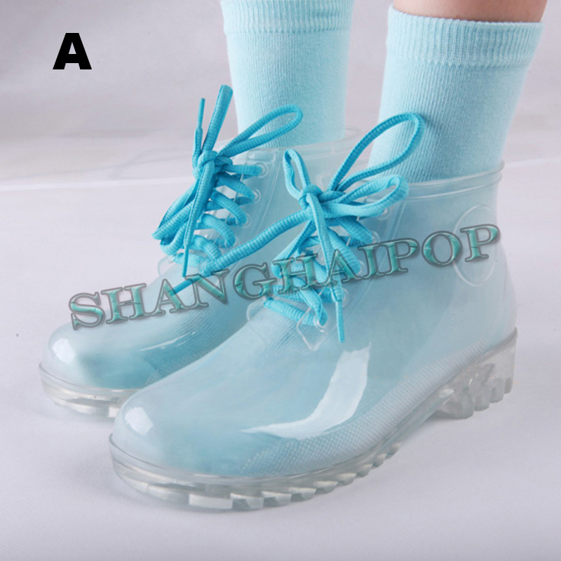 Women Transparent Clear Rain Boots Socks Lace Up Jelly Crystal See ...