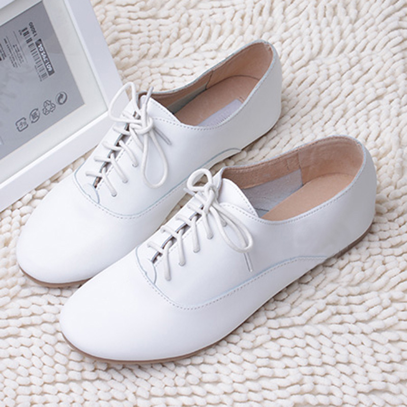 Women-Lady-White-Leather-Loafer-Oxford-Flat-Shoe-Lace-Up-Brogue-Casual