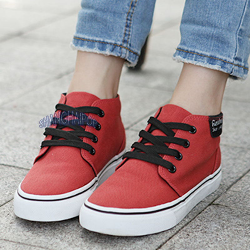 Lace-Up-Plimsoll-Womens-Trainers-Canvas-High-Hi-Top-Shoes-Pump-Flat-Sneakers-New