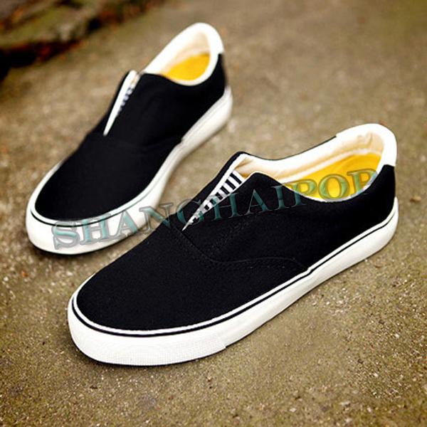 Ladies-Canvas-Shoes-Slip-on-Pumps-Plimsoles-Girls-Flat-Women-Casual-Black-White