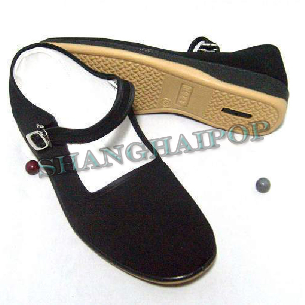 Black Mary Jane Chinese Shoes Slippers Cotton Sole Flats ...