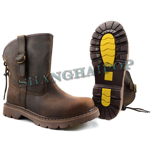 mens womens brown leather boots bootie motorcycle