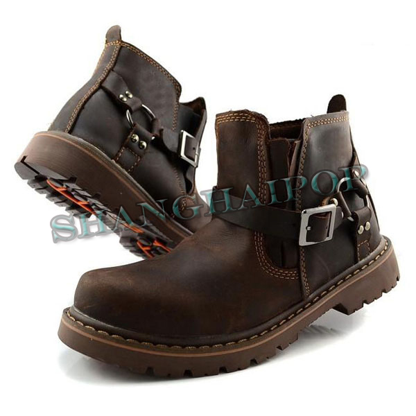 mens brown leather harness ankle boots strapped