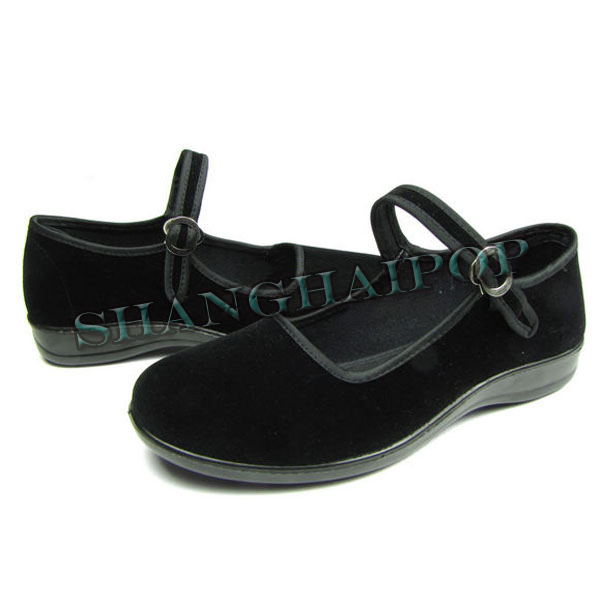 Flat-Mary-Jane-Shoes-Black-Comfortable-Cotton-China-Women-Ladies-Dance