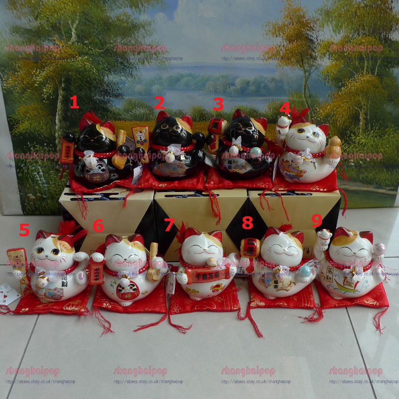 White-Black-Lucky-Cat-Money-Box-Piggy-Bank-Maneki-Neko