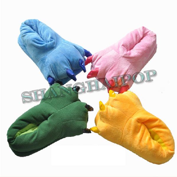 Unisex-Dinosaur-Slippers-Plush-Soft-Feet-Fancy-Dress-Shoes-Animal-Cosplay-Party