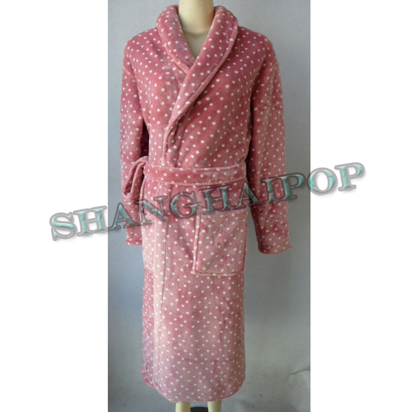 Women Polka Dots Robe Fleece Long Bathrobe Dressing Gown Full ...