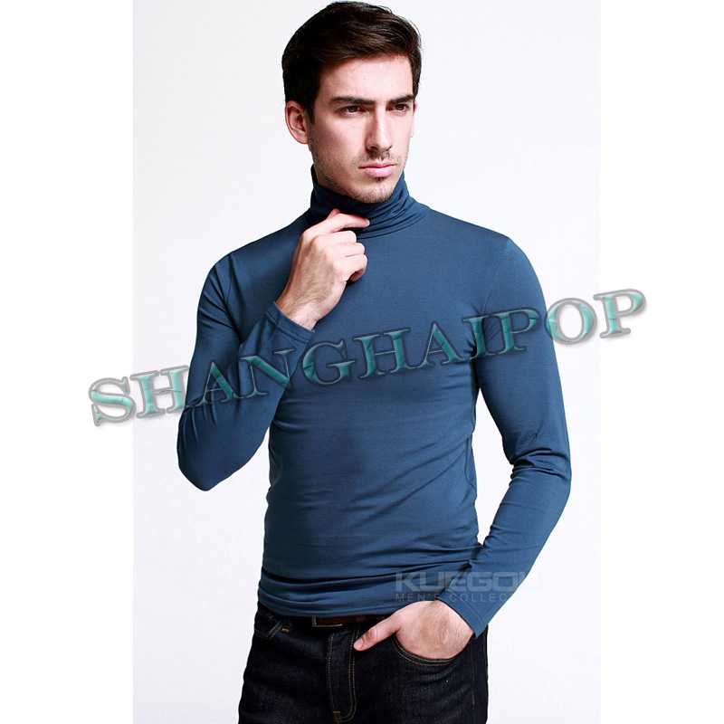 Men turtle neck shirt stretch cotton long sleeve tee top for Tight collar t shirts