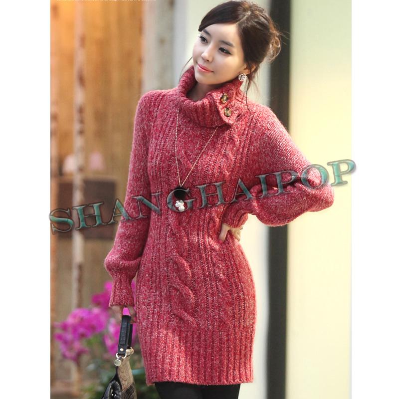 Women turtle neck knit jumper dress cable chunky sweater knitwear long