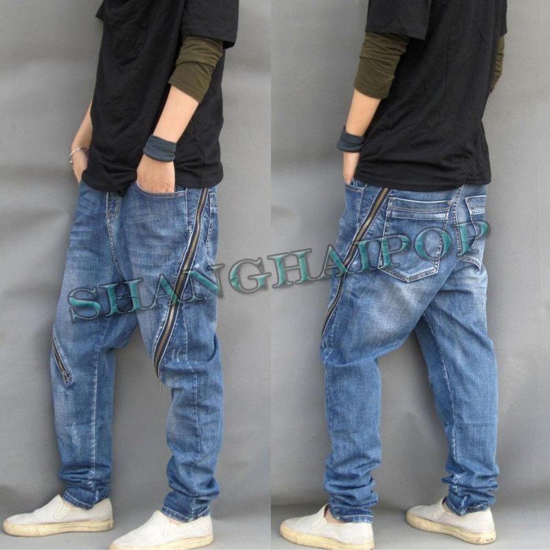 blue baggy men harem zip trousers jeans loose fit drop. Black Bedroom Furniture Sets. Home Design Ideas