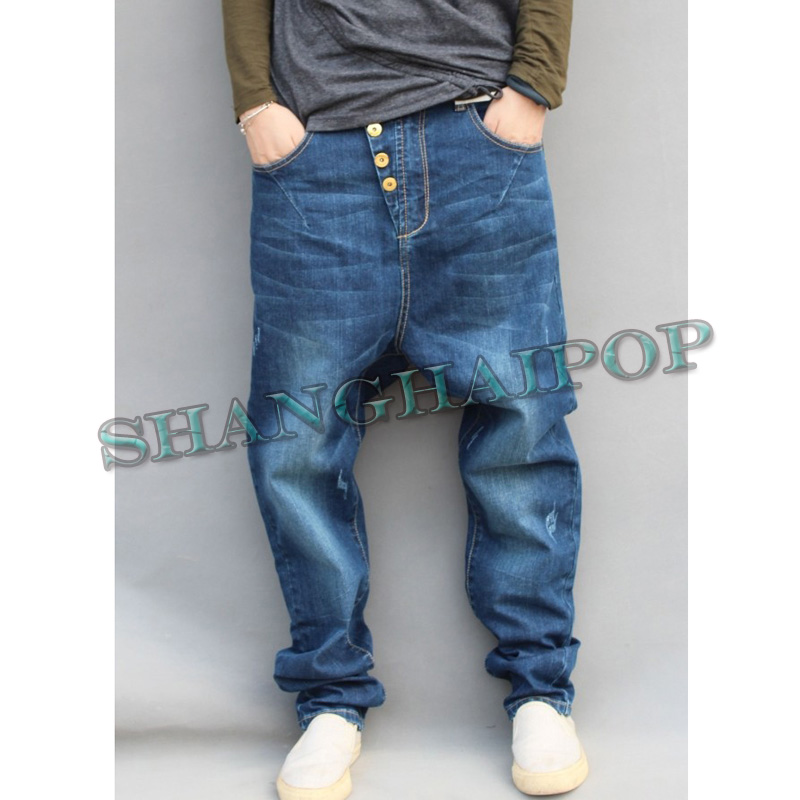 Pantalons Hip Hop Hommes Jeans Sarouel roulettes Streetwear Baggy ... 85046f98dfc