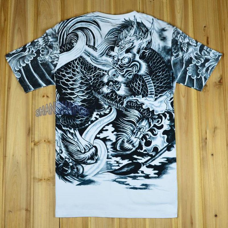 Men dragon tattoo t shirt chinese tribal ethnic gothic for Tribal tattoo shirt