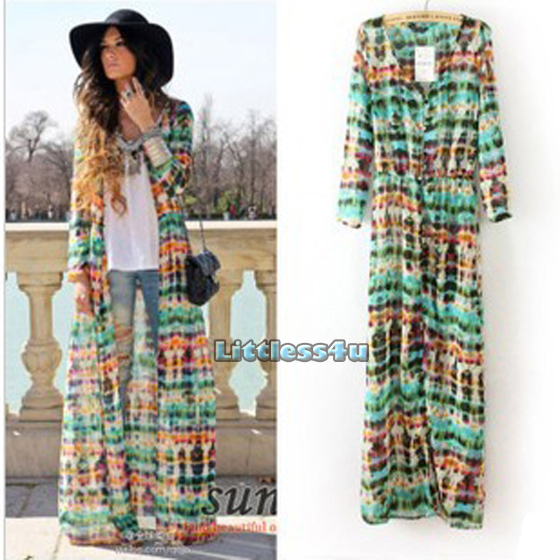 New Ladies Chiffon Long Sleeve Dress Cardigan Tie Dye Bohemian ...