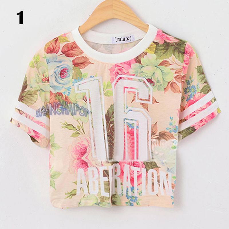 Women Floral Crop T Shirt Flower Number Short Sleeve Crew Neck