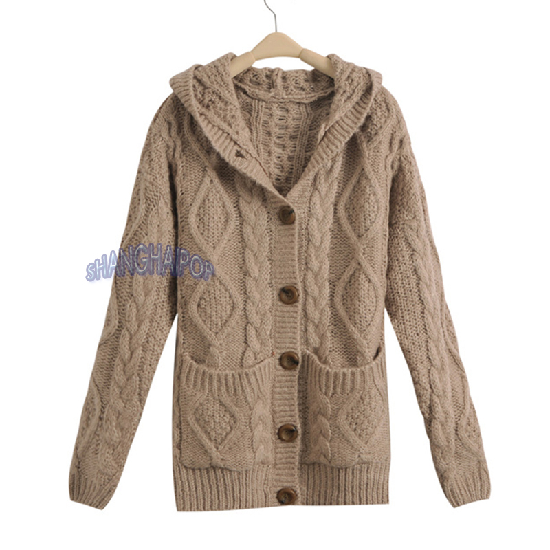 Womens Cable Knit Cardigan Pattern Sweater Grey