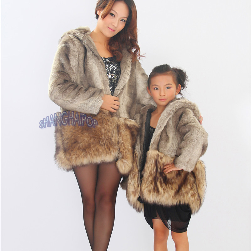Bear Ear Rabbit Fur Faux Coat Jacket Hooded Hoodie Parka Winter