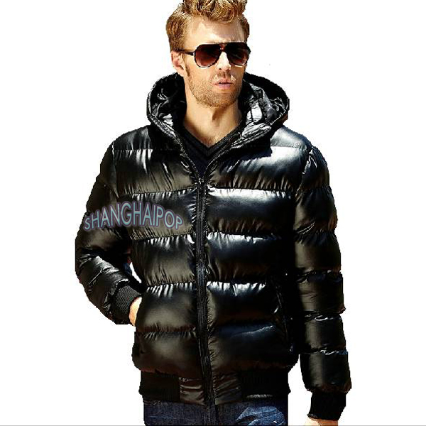 Image is loading Men-Shiny-Glossy-Puffer-Coat-Hooded-Quilt-Padded