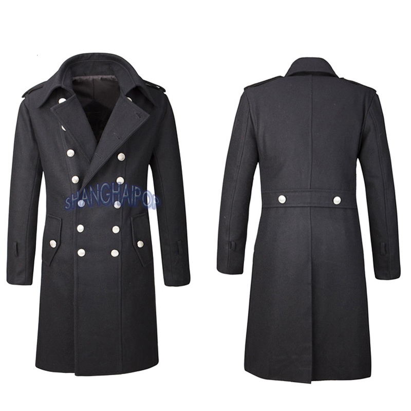 Double Breasted Trench Coat Overcoat Jacket Men Wool Outerwear