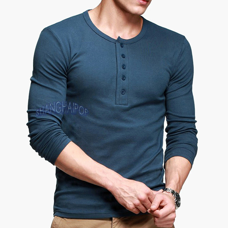 button neck henley t shirt men dexter long sleeve solid