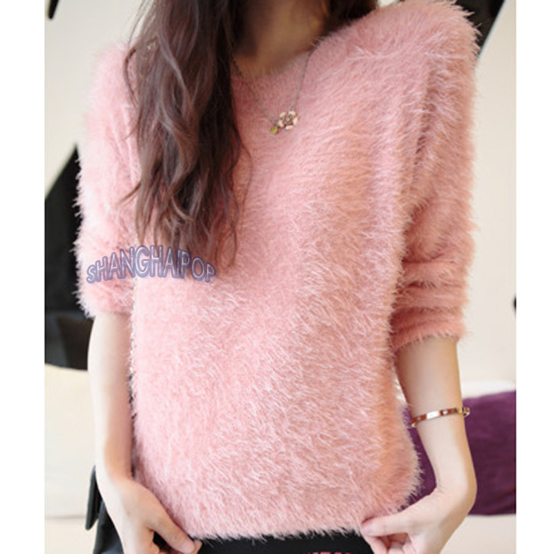 Women/Ladies Furry Jumper Sweater Knitted Pullover Plain Top White ...