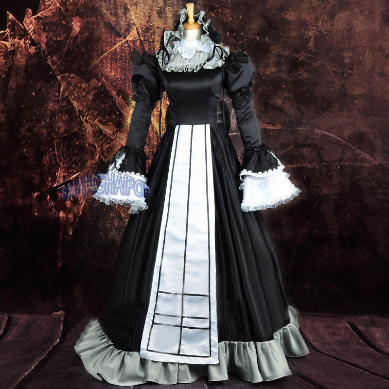 Black Lolita Fancy Dress Maxi Lace Satin Ruffle Bow Maid ... Ruffled Satin Housemaid
