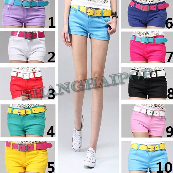 Women-Hot-Pants-Denim-Shorts-Girls-Casual-Lady-Red-Blue-Pink-Yellow-Hipster-New