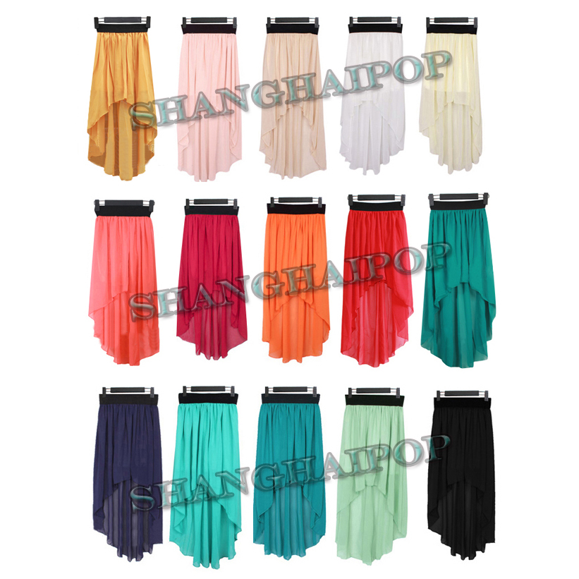 Long-Asymmetrical-Chiffon-Skirt-Elastic-Waist-Maxi-Fishtail-Pleated-Beach-Sexy