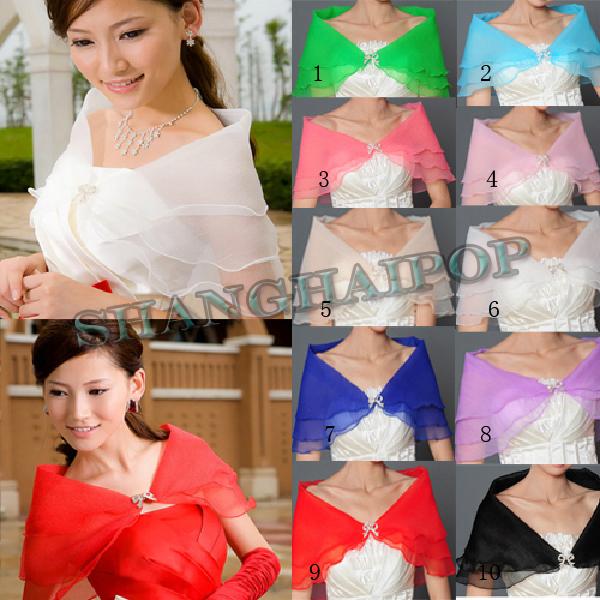 Bridal-Wedding-Dress-Shawl-Wrap-Scarf-Cape-Stole-Organza-Prom-Evening-White-Red