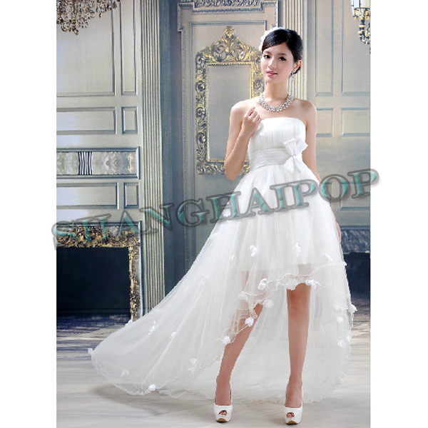 Asymmetrical wedding dress white strapless fishtail bridal for White fishtail wedding dress