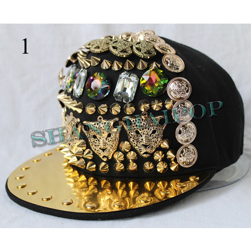 Leopard stud jewelry cap hat baseball rhinestone spike for Red hat bling jewelry