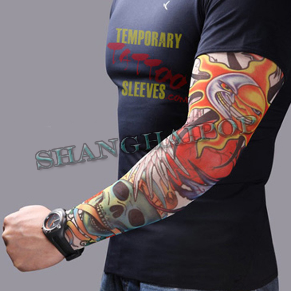 1-x-Fake-Tattoo-Sleeve-Arm-Stocking-Skull-Costume-Fancy-Dress-Party-Temporary