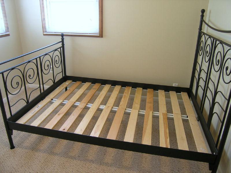 ikea noresund full size bed frame black pickup only. Black Bedroom Furniture Sets. Home Design Ideas
