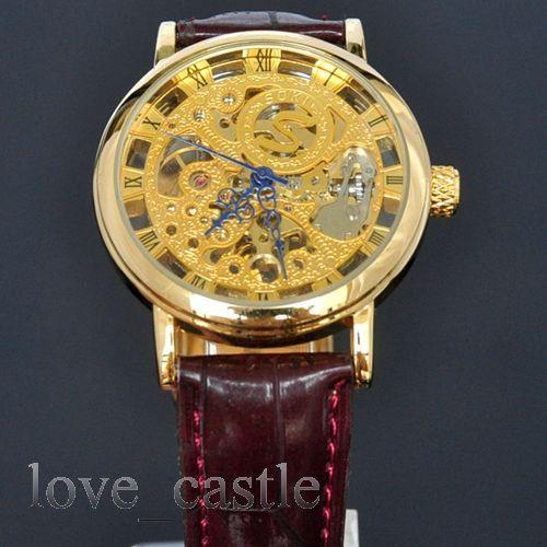 New soki classic skeleton mens analog mechanical wrist leather band watches w01t ebay for Classic skeleton watch