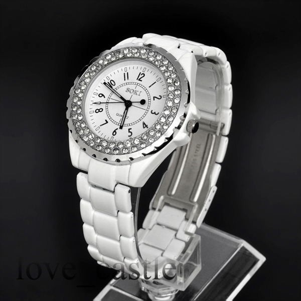 New-SOKI-Silver-casual-Crystal-White-Analog-Quartz-Womens-Band-Wrist-Watch-W083