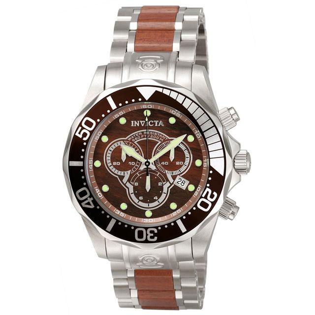 Invicta Mens Pro Diver Chronograph Wood Watch 0164 NEW