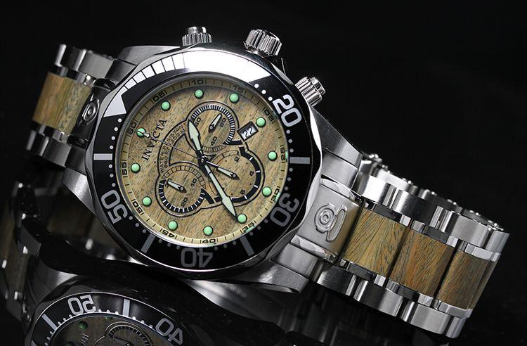 Invicta Mens Pro Diver Chronograph Wood Watch 0165 NEW