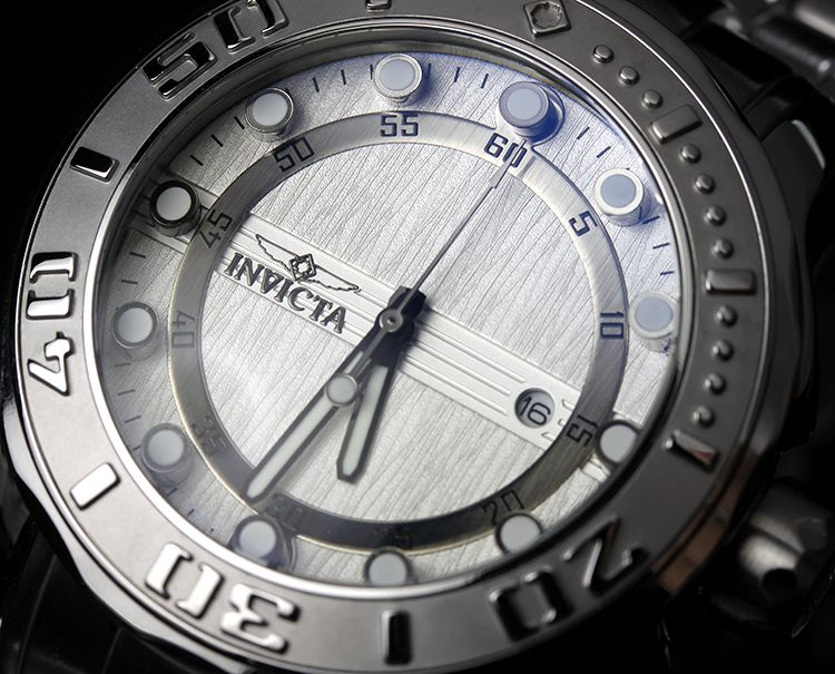 Invicta Mens Pro Diver Ocean Ghost Stainless Steel Silver Dial Watch
