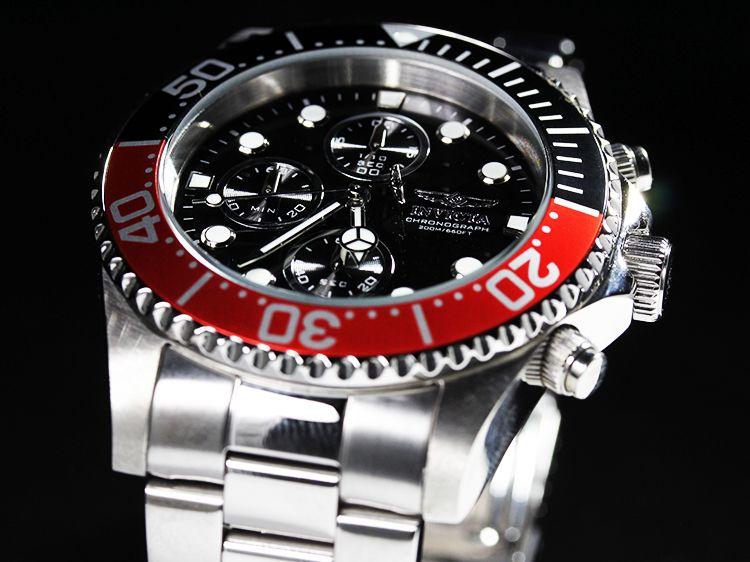 Invicta Mens Pro Diver Collection Chronograph Black Dial Coin Edged